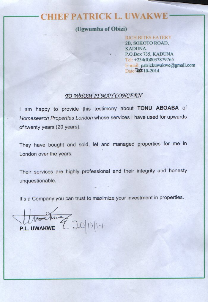 Landlord Patrick Uwakwe written testimonial on headed paper for Homesearch Properties.